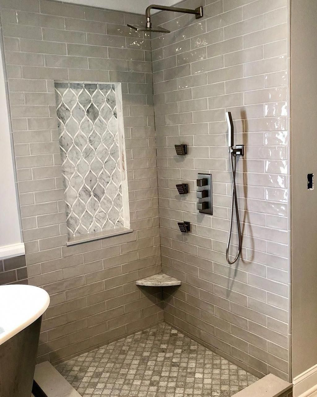 Painting Your Entire Bathroom One Light And Strong Color Yes Ceiling And Floorings Consisted Of Can Do Mar In 2020 Bathroom Shower Tile Shower Tile Pretty Bathrooms