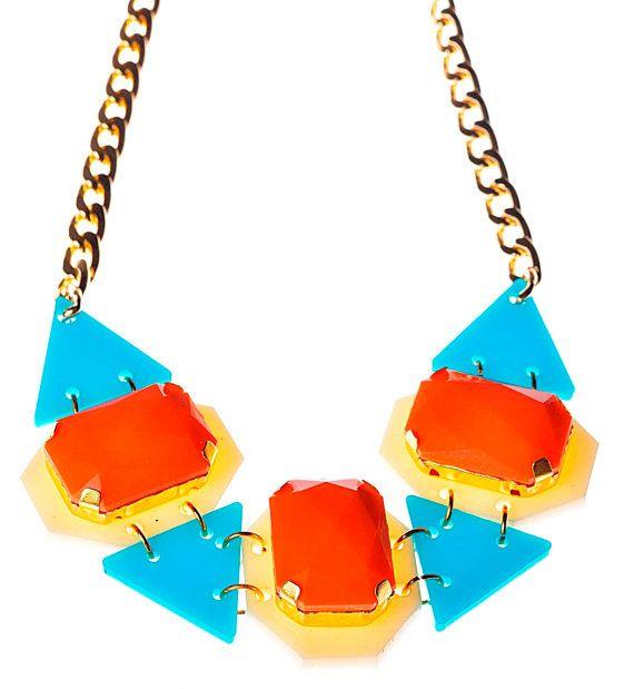 Orange Drops Statement NecklacePlexiglass by bugga on Etsy, $45.00