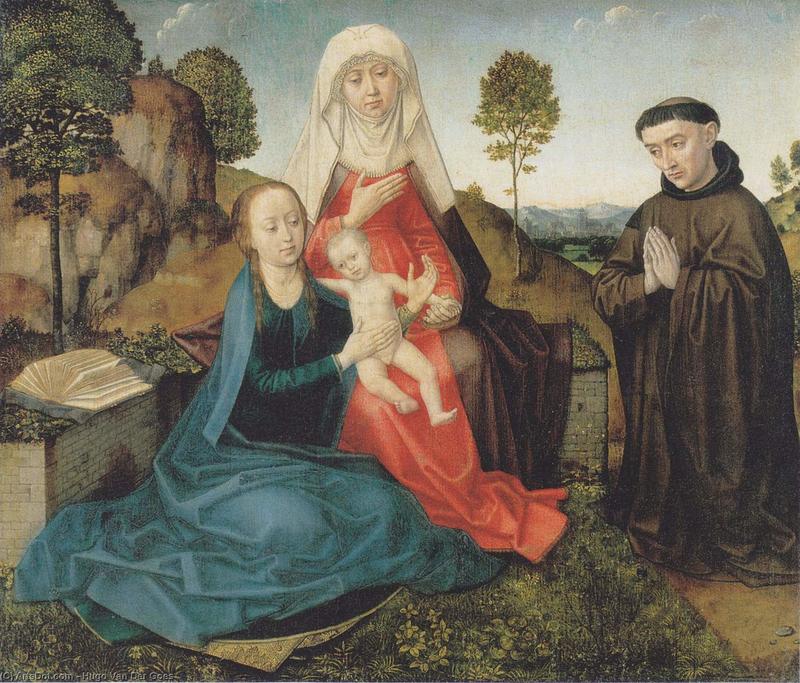 Hugo van der Goes, Virgin and Child with Saint Anne and a Franciscan donor, late 15th century, Musées royaux des Beaux-Arts de Belgique, Brussels Pictures from History / Bridgeman Images