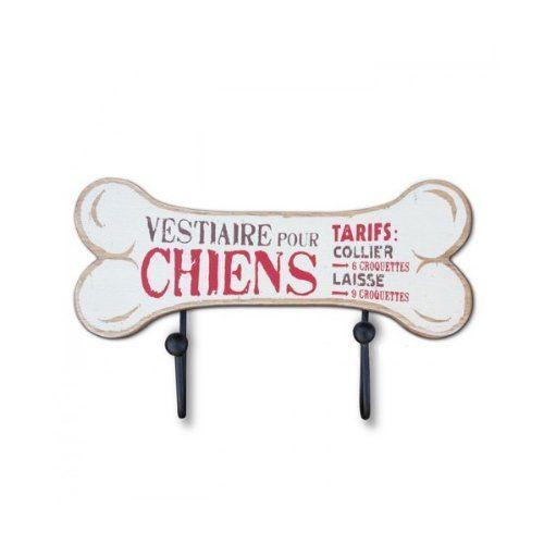 Natives 211035 Wandhaken Garderobenhaken für Hundeleine und Halsband / aus Metall und Holz / Länge 15 cm Höhe 9 cm