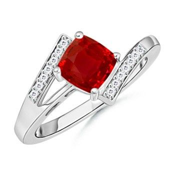 Angara Diamond Halo Cushion-Cut Ruby Ring in Platinum S4NjzP1Y