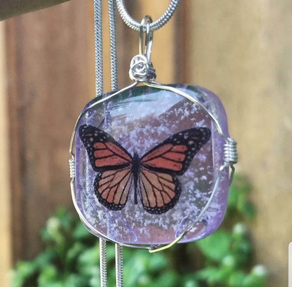 Monarch Butterfly Cremation Pendant Ashes InFused Glass