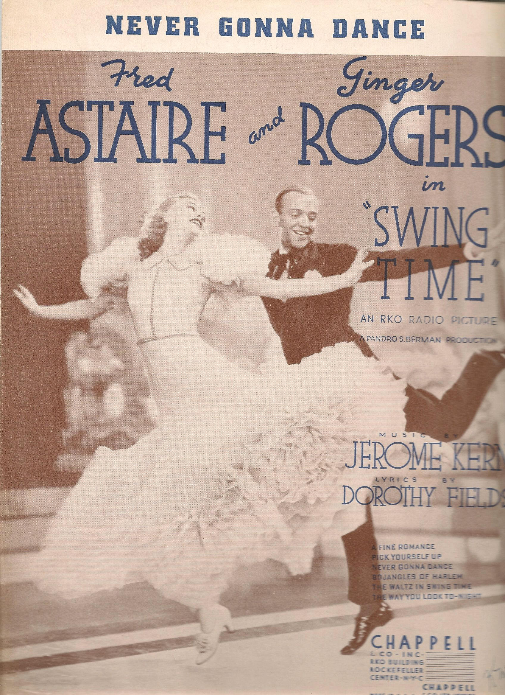 Swing Time Sheet Music Fred Astaire Ginger Rogers