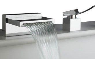 artos quarto waterfall tub faucet rim mount spout and single hole control