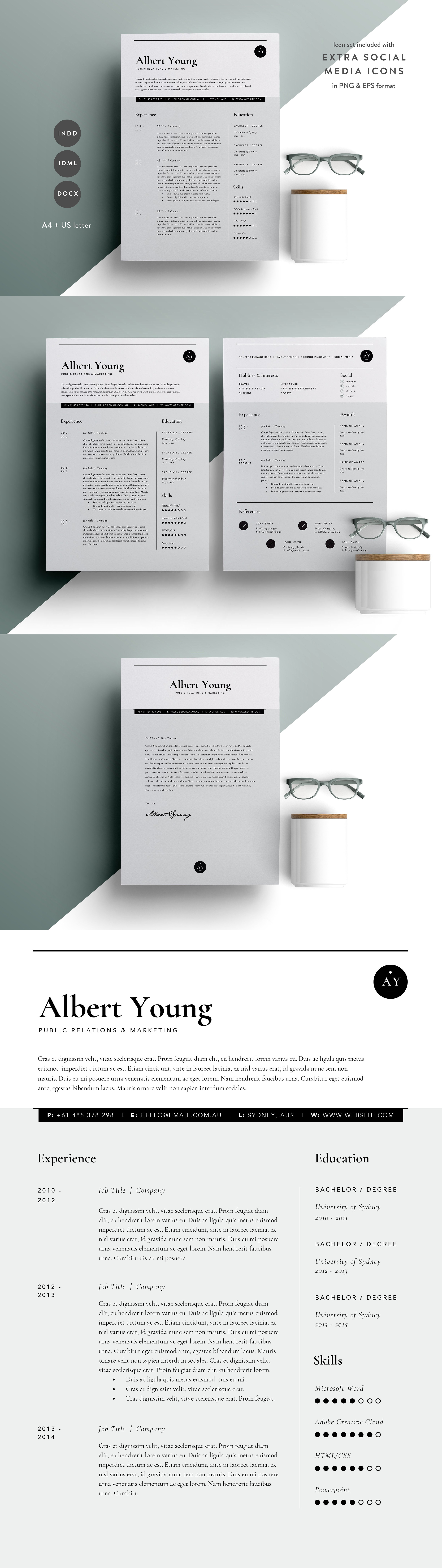 Resume Template 3 Page | CV Template INDD | Resume Templates ...