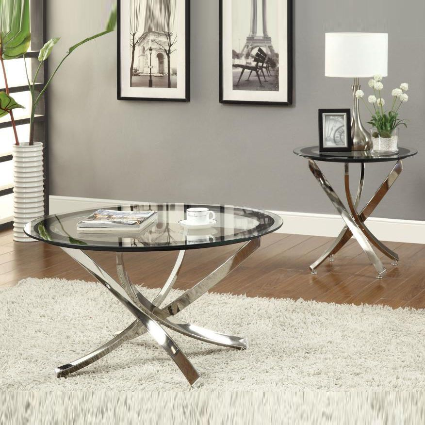 Nickel Round Tempered Glass Top Chrome Legs Cocktail Coffee Table - Round glass coffee table with chrome legs