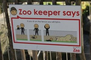 Brilliant signage at Wellington Zoo
