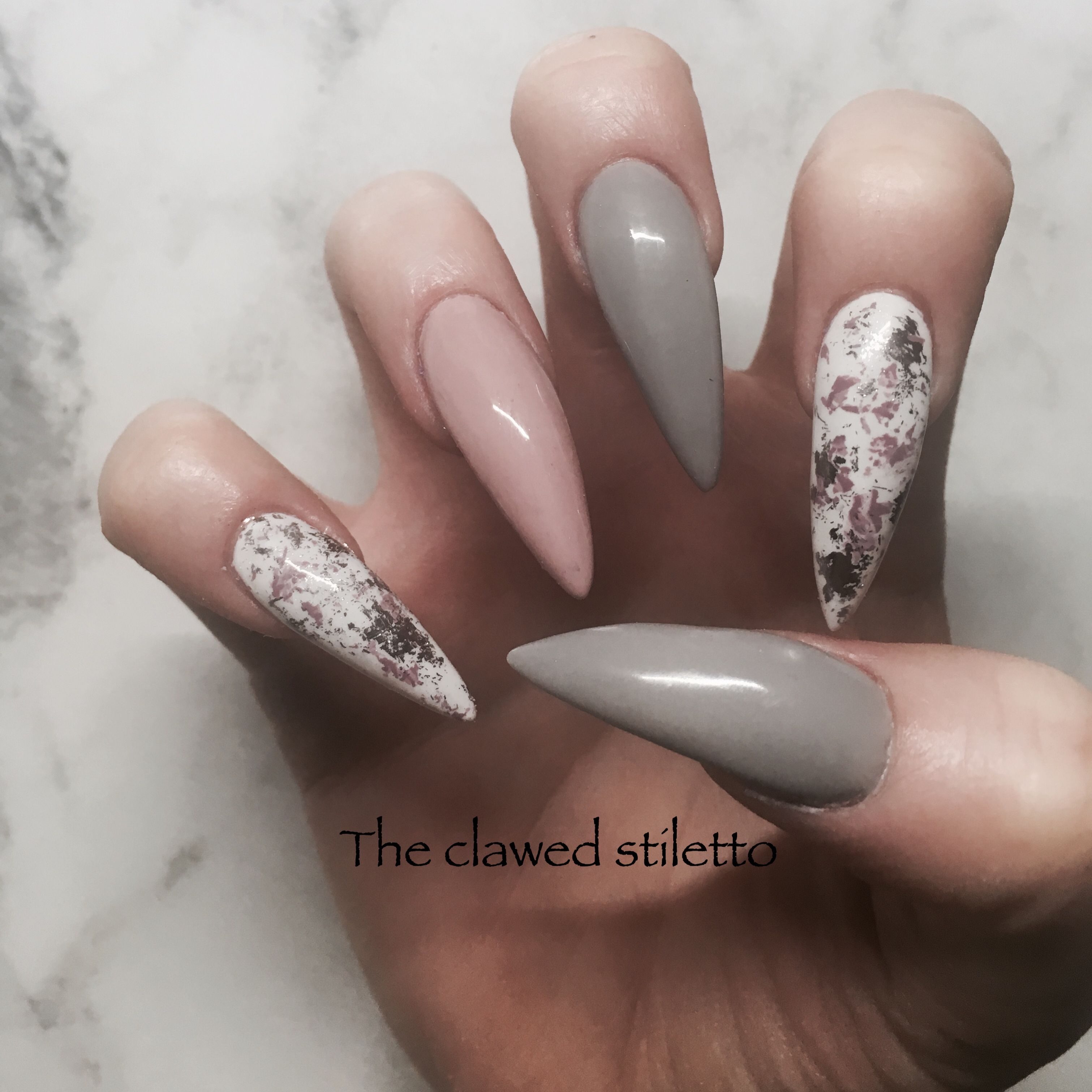 Dusky pink and grey stiletto nails. Acrylic nails with nail foil ...
