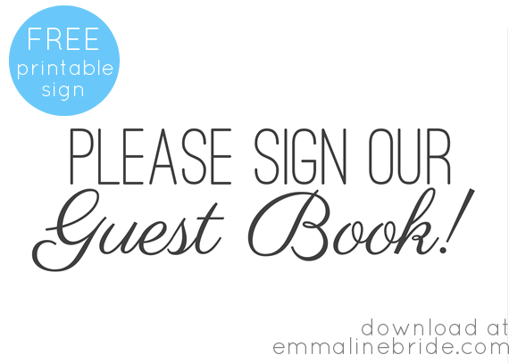 Free Printable Guest Book Sign  Wedding    Handmade