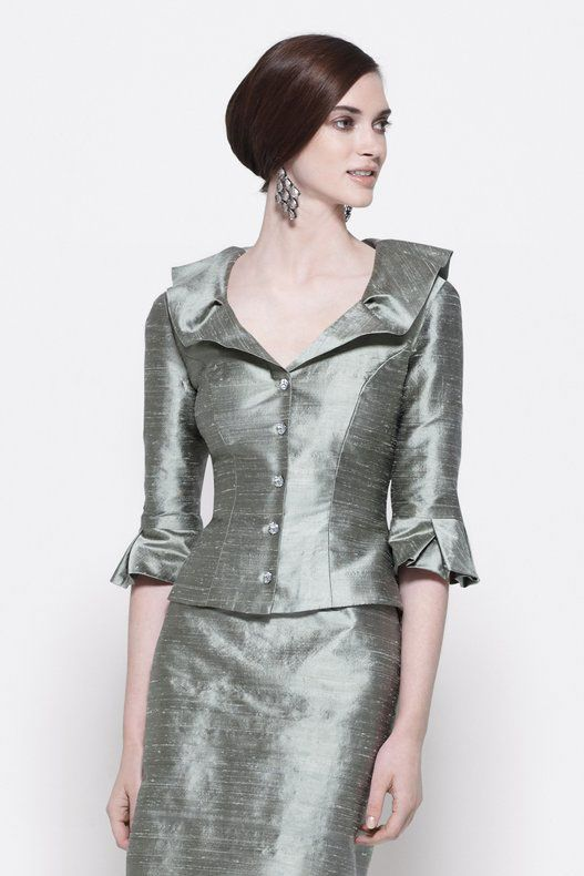 Mother of the Bride suit with crystal buttons and pleated ruffle ...