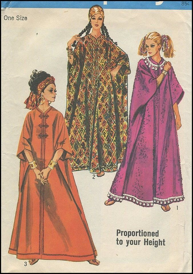 1960s Vintage Front Zipper Roomy Comfy Caftan Boho Sewing Pattern ...