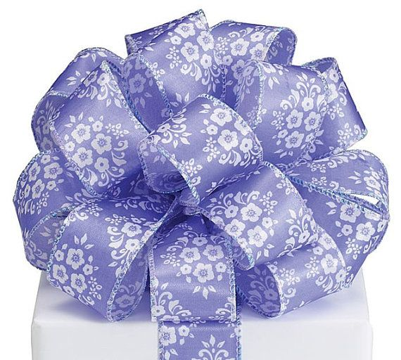 1 1/2 Purple or Green Ribbon with Flowers Satin