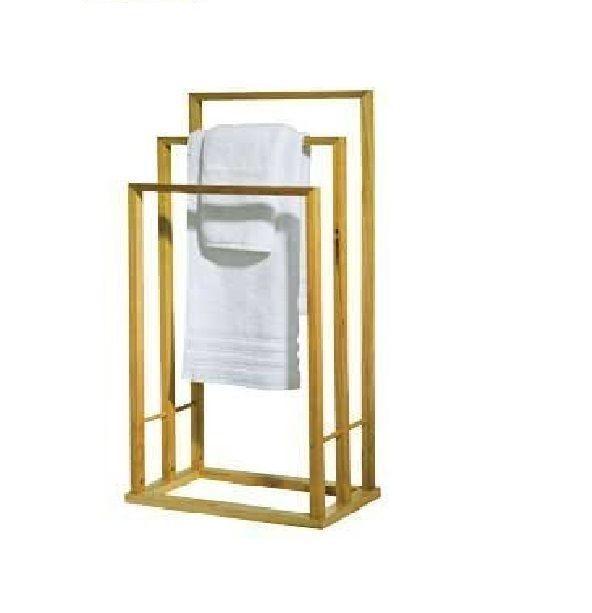 Bathroom Bamboo Wooden Wood 3 Bar Towel Rack Rail Holder Free Standing Stand