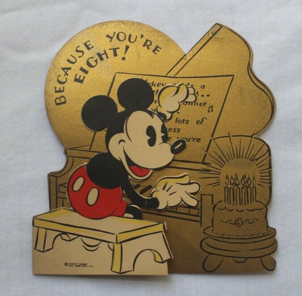 1930s VINTAGE WALT DISNEY MICKEY MOUSE PLAYING PIANO