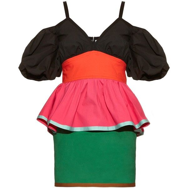 Isa Arfen Colour-block off-the-shoulder dress (70860 RSD) ❤ liked on Polyvore featuring dresses, multi, red off shoulder dress, ruching dress, red strappy dress, peplum dress and colorblock dress
