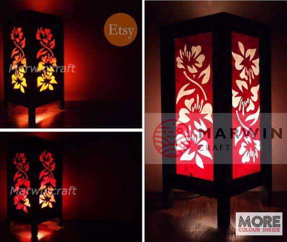 Asian Oriental Hibiscus Flower Lamp Zen Bedside Lamp Floor Table
