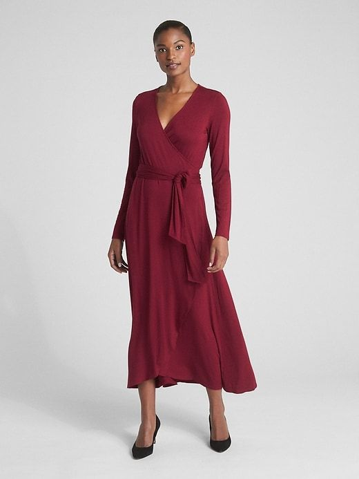 a2e6ef9e825 Gap Womens Long Sleeve Knit Wrap Midi Dress Red Delicious