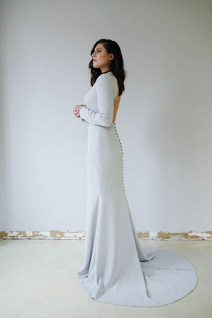 Taylor Wedding Dress Side Fitted trumpet silhouette, long sleeves ...