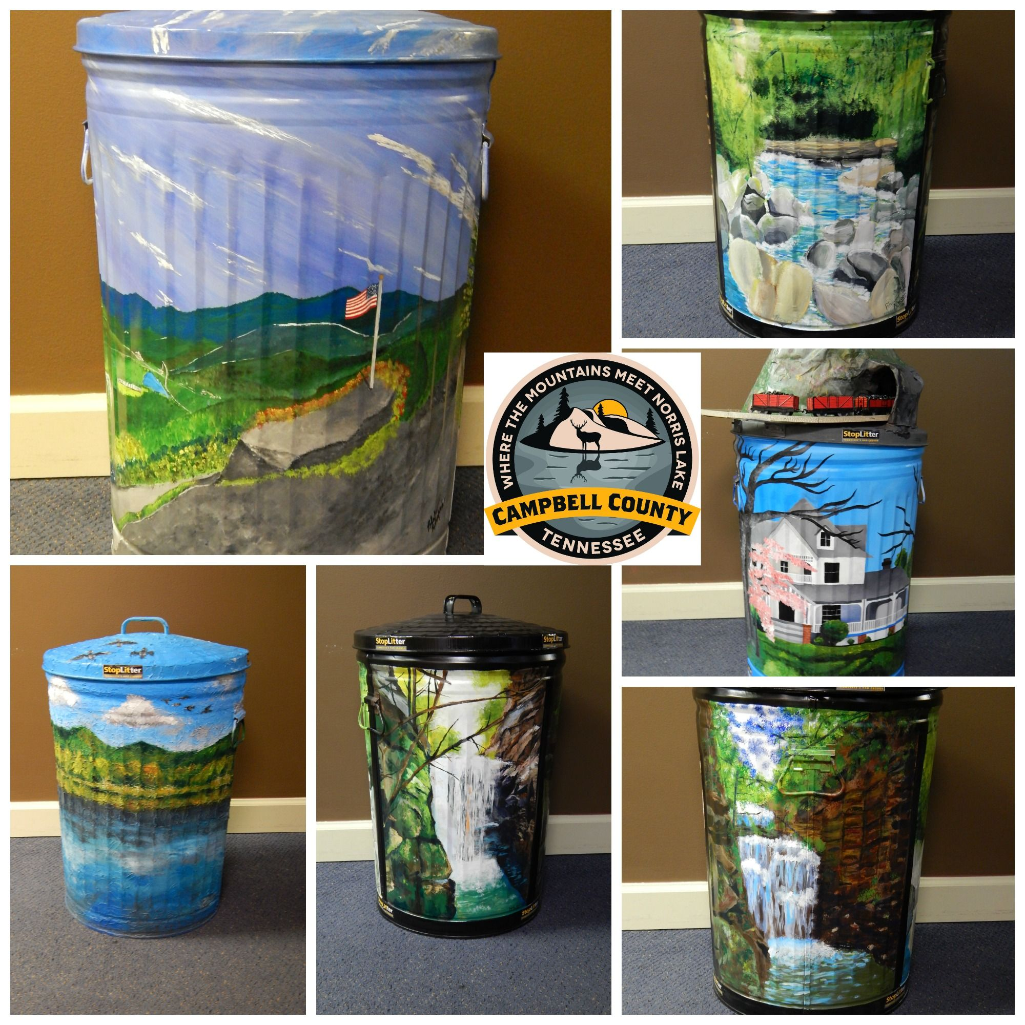 Online Only Auction on artistic trash cans, being sold to promote litter awareness in Campbell Co, Tn. and proceeds benefit Campbell Co. and Jellico High School art departments.  Ayers Auction and Real Estate, LaFollette, Tn. Lic#407. no bp