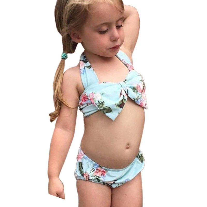 New Style Summer Baby Girls Cute Printed Floral Harness Swimwear Kids Girl  Sleeveless Bikini 2 Pcs