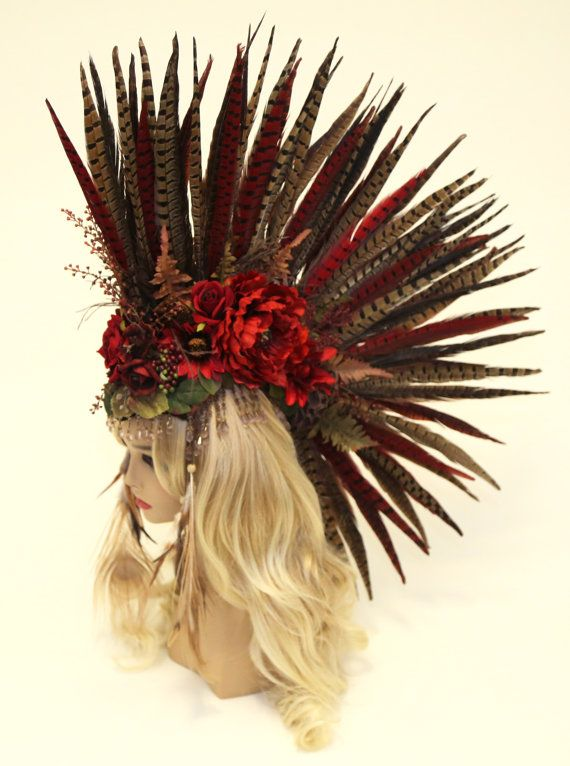 Headdress/ READY TO SHIP /Feather Mohawk/ Warrior Headdress/ Burning Man Headdress/ Flower Headdress/ Tribal Headdress/ Feather Headdress