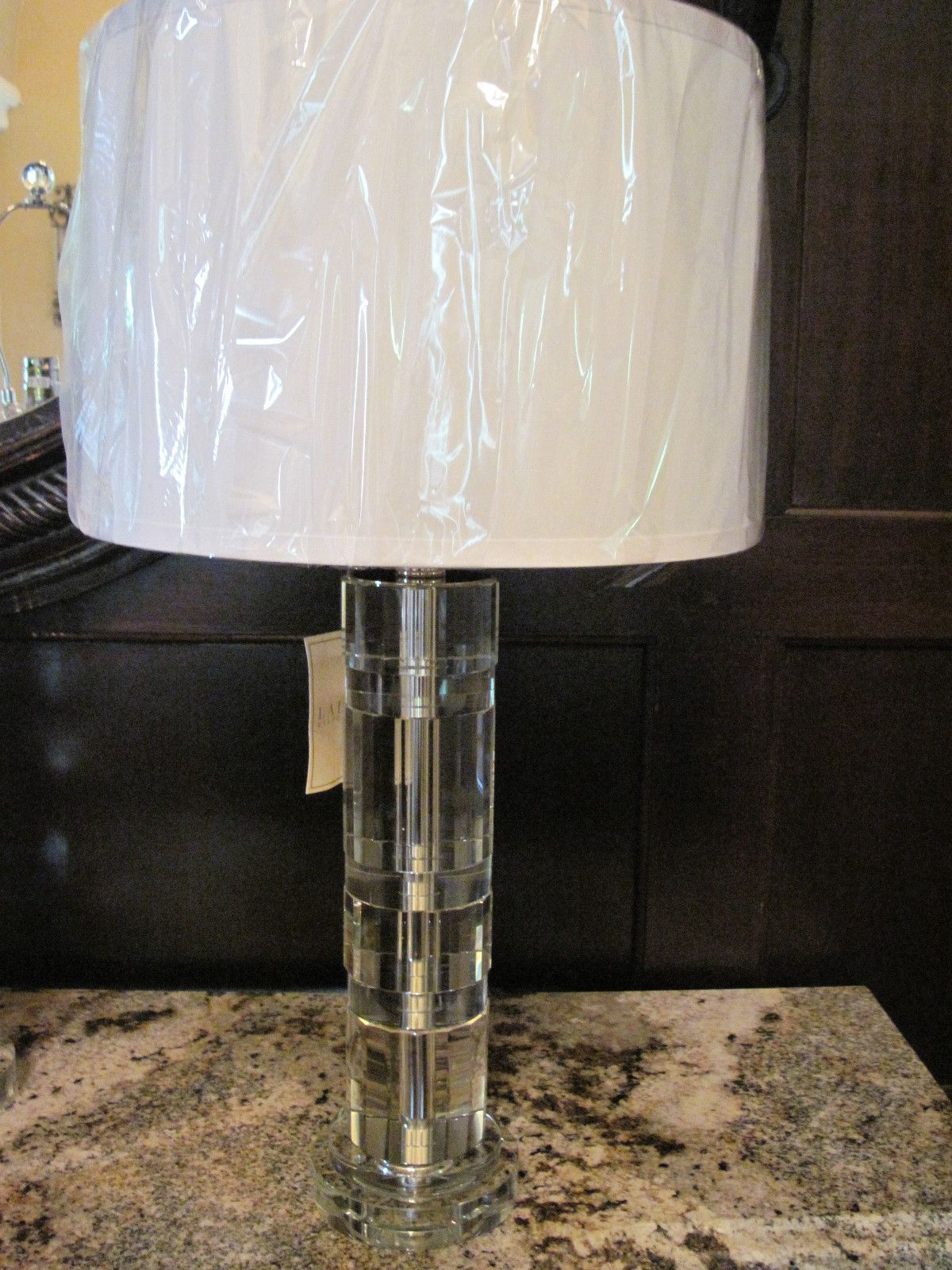 Brand New Ralph Lauren Farrah Nickel Table Lamp Crystal Silk Shade