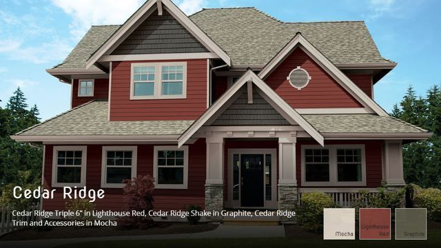 Cedar Ridge Siding Installed By King Quality Construction Red House Exterior Vinyl Siding House Exterior House Colors