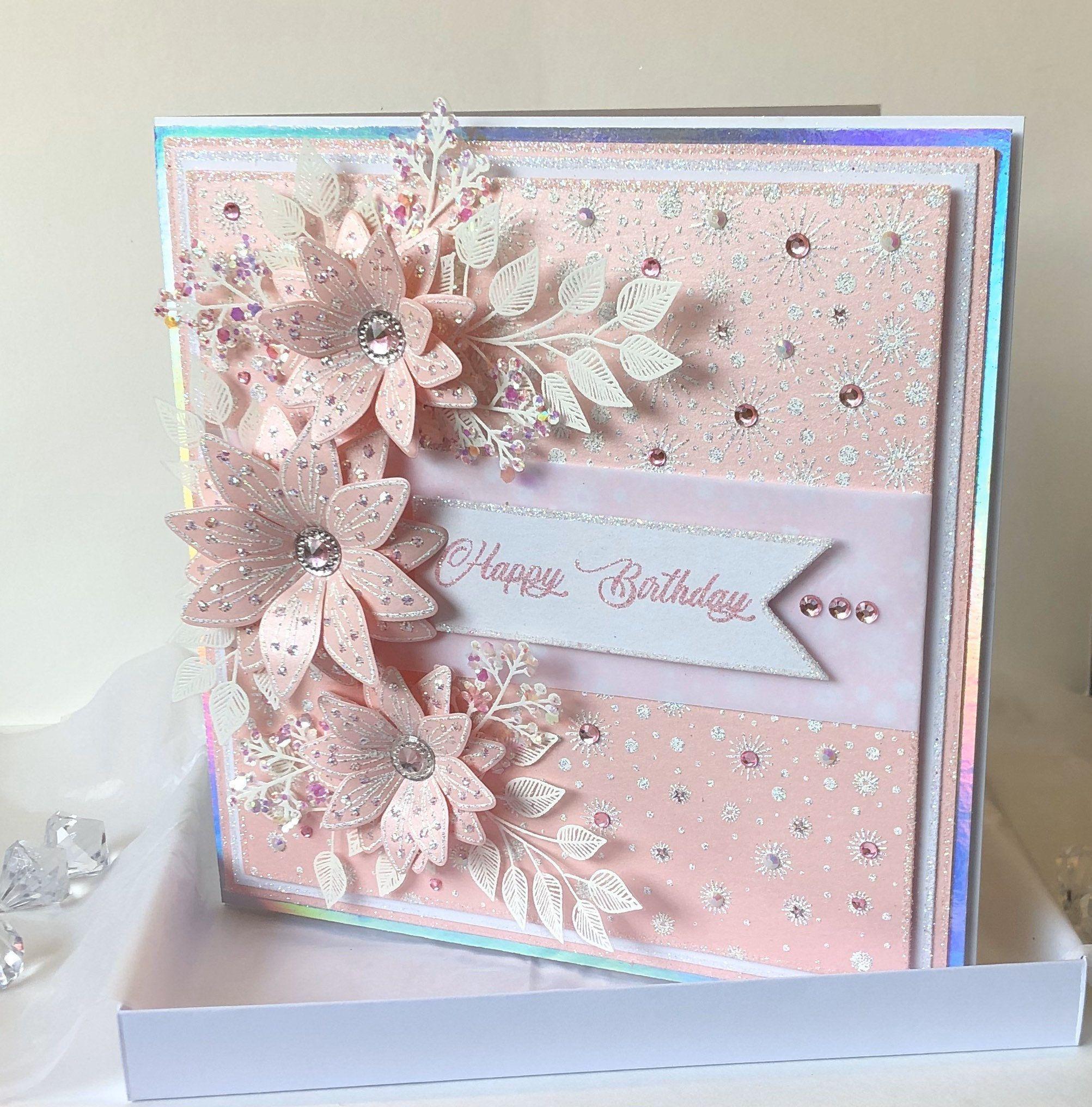 Luxury Handmade Pink Boxed Birthday Card Birthday Boxed Card Handmade Luxury Pink Chloes Creative Cards Luxury Birthday Cards Stamps By Chloe