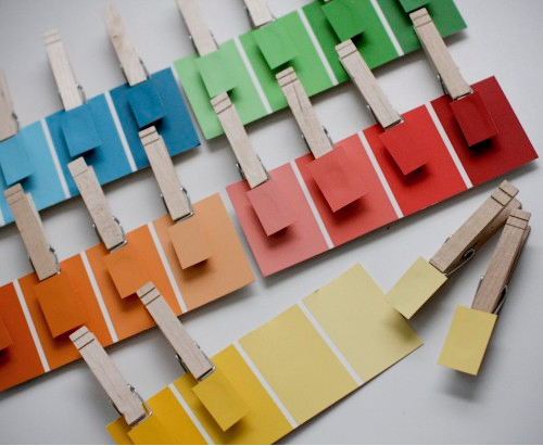 this is a fun idea for the kids - using paint chips and laundry clips
