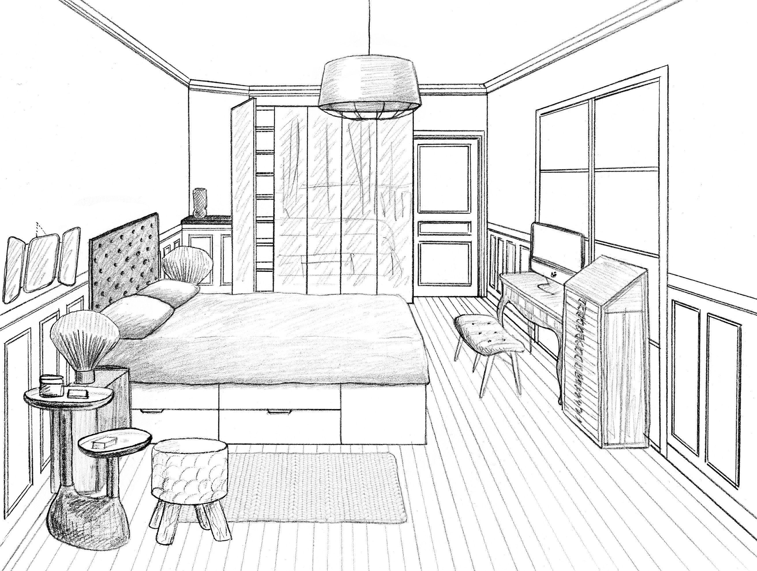 Chambre En Perspective Simple En 2020 Maison Dessin Chambre Ado Dessin Croquis Maison