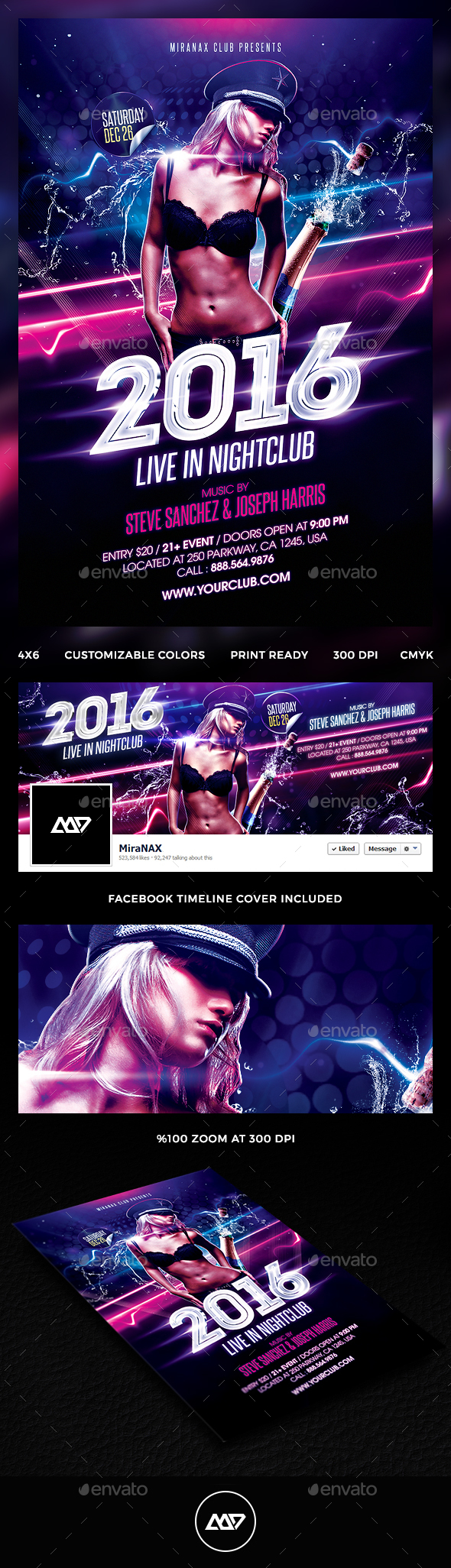 New Year Party Flyer Template PSD #design Download: http://graphicriver.net/item/new-year-party/13861080?ref=ksioks