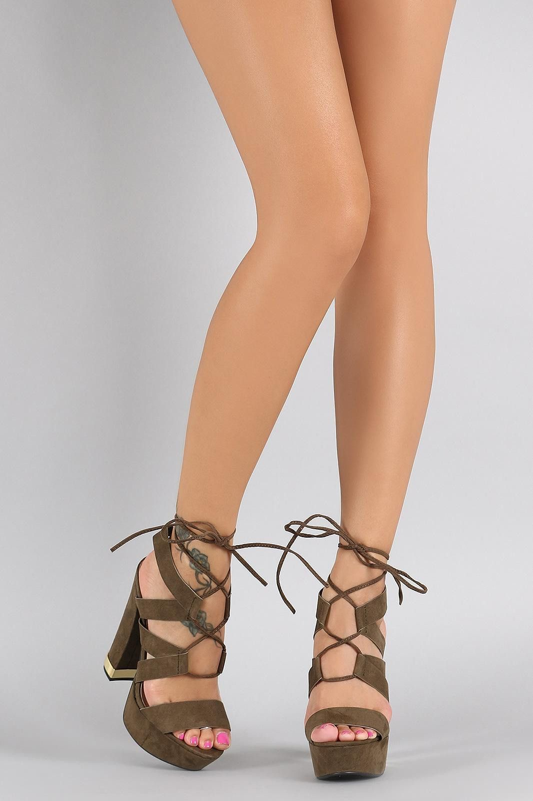3c06c81ee606 Qupid Suede Strappy Corset Lace Up Chunky Heel