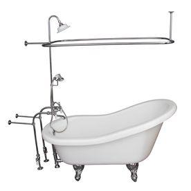 Barclay Acrylic Oval Clawfoot Bathtub With Back Center Drain