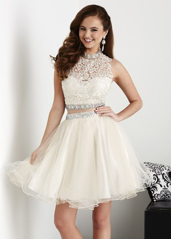 Two Piece Applique Lace Beaded White Champagne Short Prom Dress ...