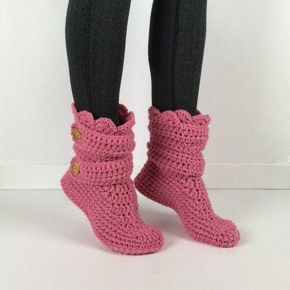 Simili A Donna Pantofola Stivali Rosa Articoli Da Uncinetto OX80wPnk