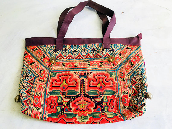 Large vintage hmong embroidered applique bag from thailand in