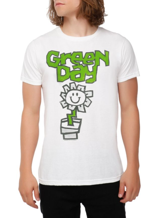 White T Shirt From Green Day With Kerplunk Inspired Flower