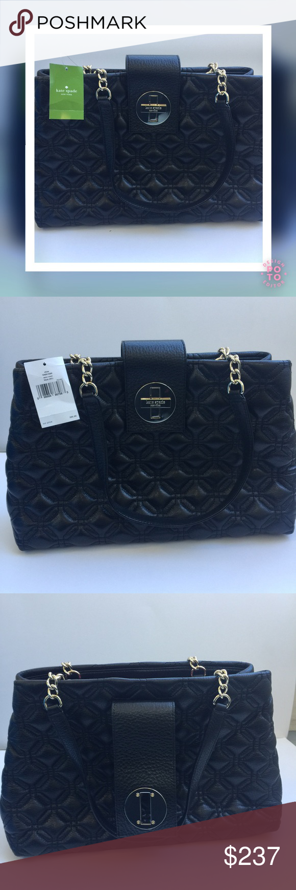 0c2e57e24f0f KATE SPADE NY Elena Astor Court Black Satchel Quilted leather (100% cow  leather)
