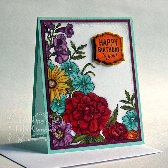 Beautiful Flower Garden Happy Birthday Greeting Card By Jantink