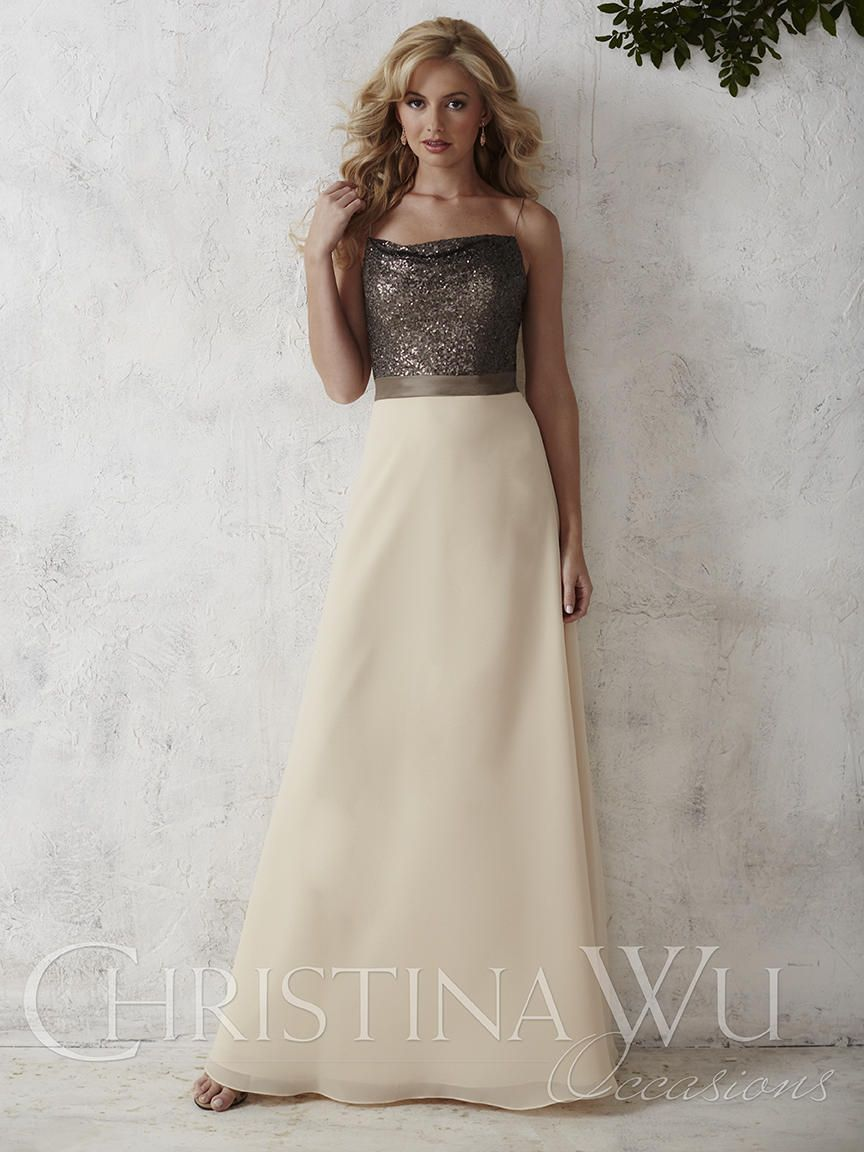 Christina Wu Occasions 22666 Sequin Chiffon Bridesmaid Gown - French Novelty