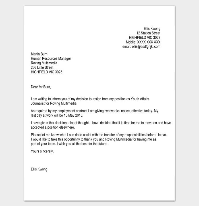 Format Letter Of Resignation - Harunyahya.co
