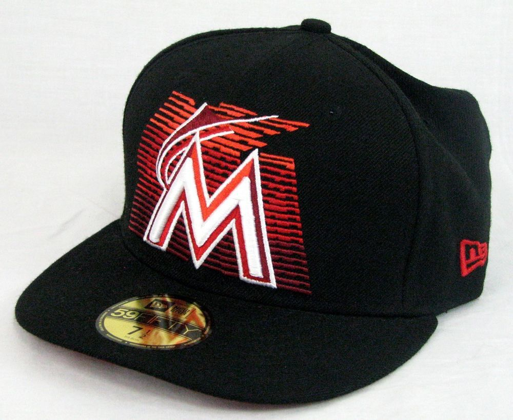 767d314a299 New Era Florida Marlins Hat Cap Fitted MLB Baseball Wool Black Size 7.5   NewEra