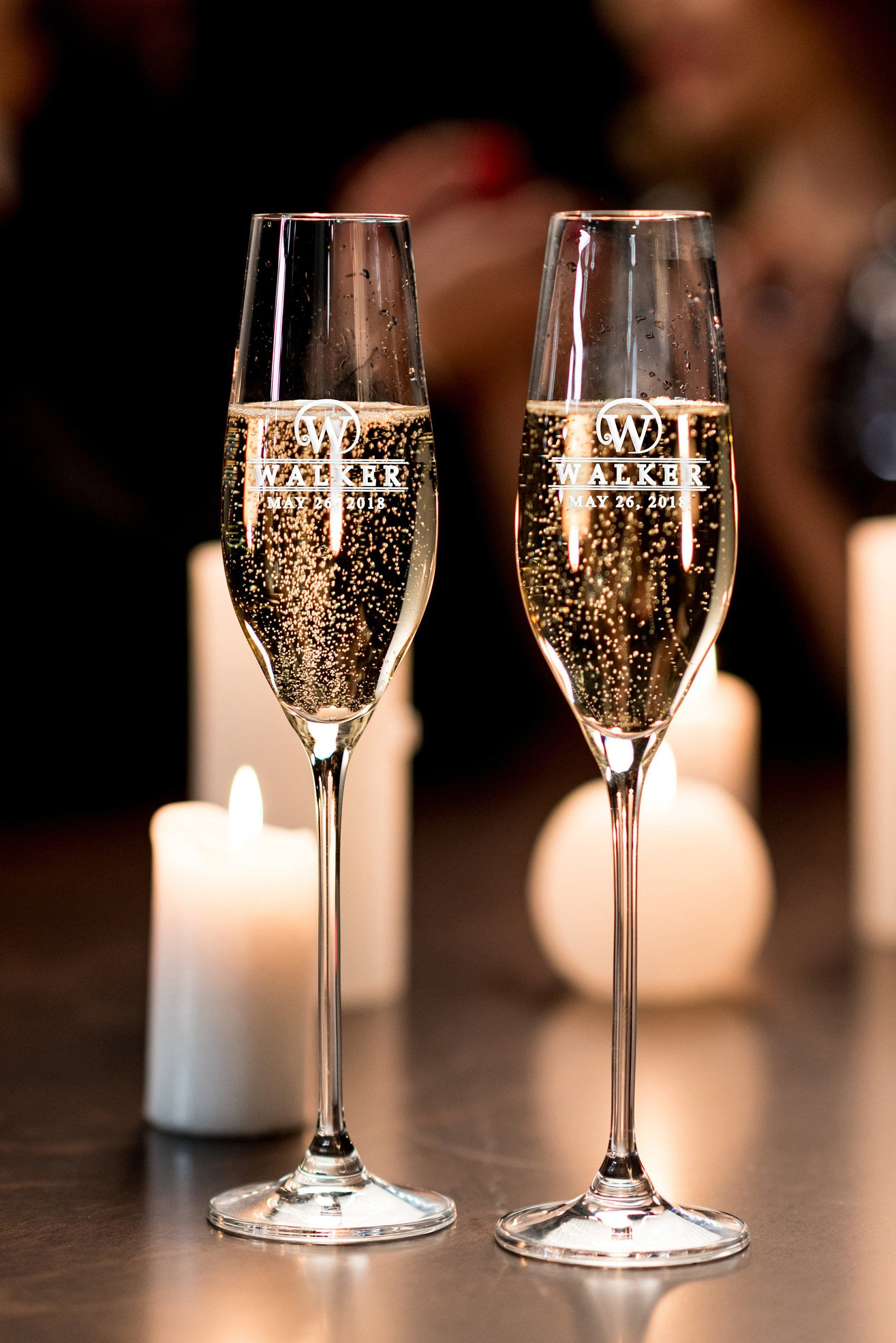 Personalized champagne flutes set of 2 bride and groom