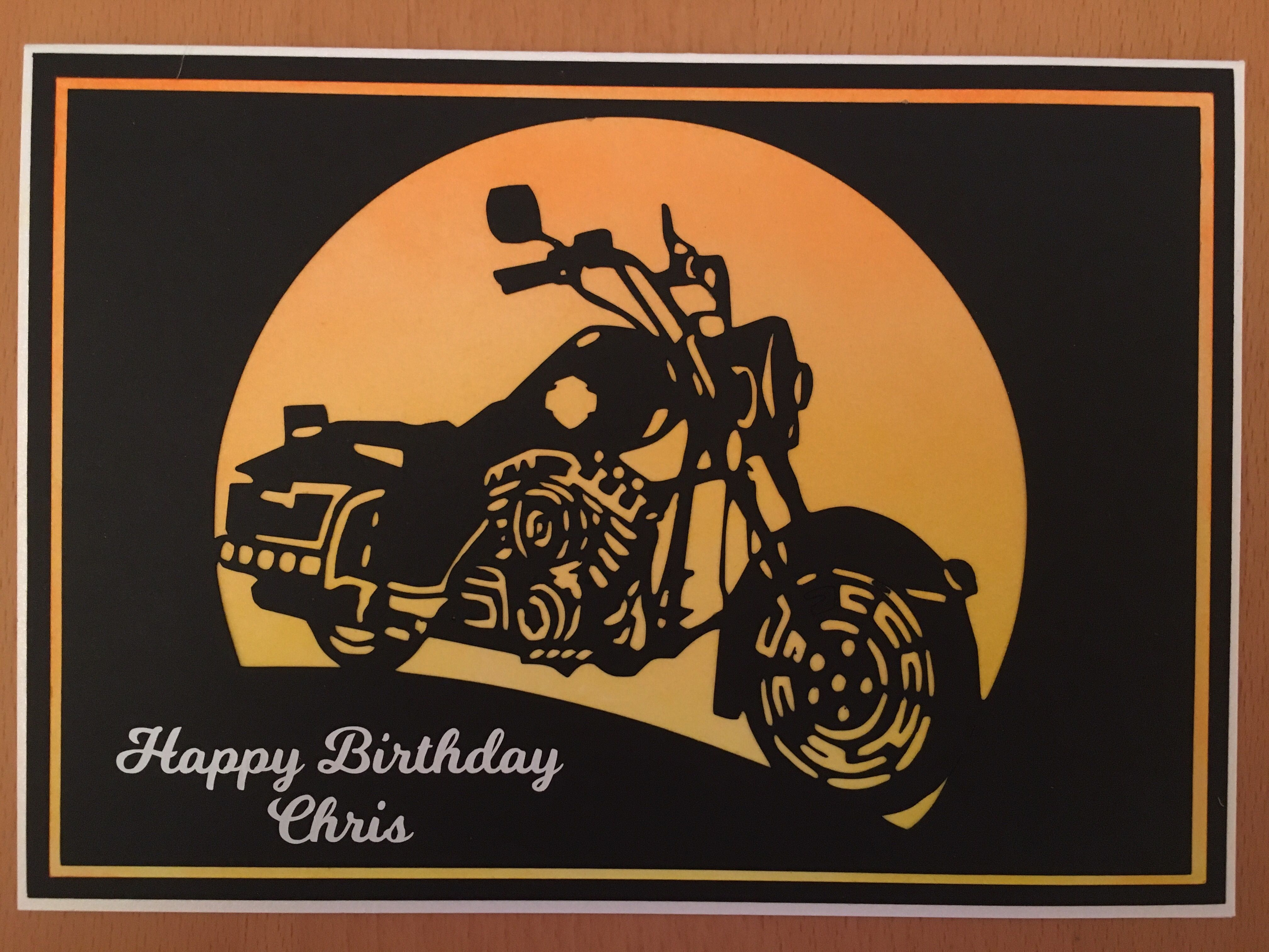 A Motorbike Card Made Using A Silhouette Cameo Horse Cards Male Cards Funny Cards