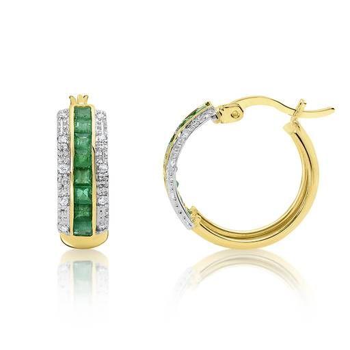 9ct Yellow Gold  Diamond & Emerald Hoop Earrings