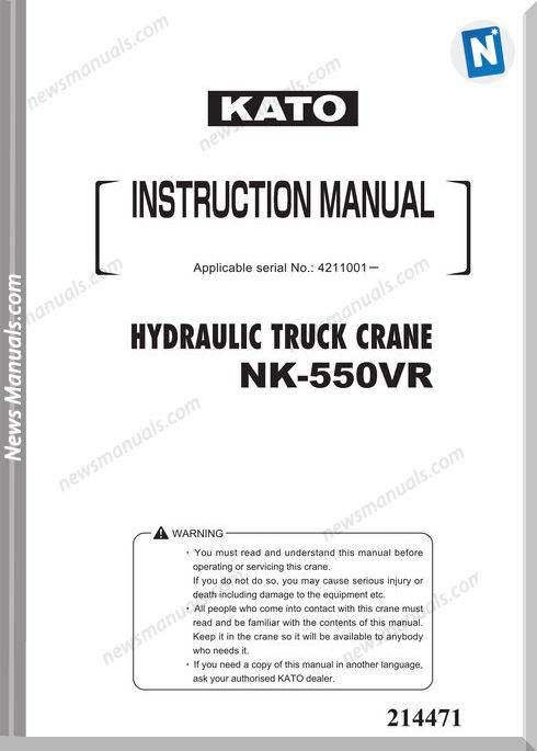 Kato Nk550vr Hydraulic Truck Crane Instruction Manual
