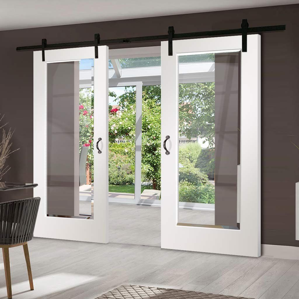 Double Sliding Door Track Cesena White 1 Pane Doors Clear Bevelled Glass Prefinished Double Sliding Doors Sliding Doors Interior Barn Style Sliding Doors