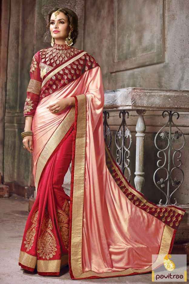 211858c2343 Peach  Red  Silk Heavy Work New Year  Saree At Lowest Price