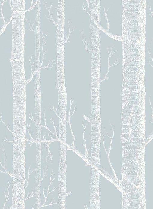 Papier peint Woods blanc sur gris bleu | papier peint | Pinterest