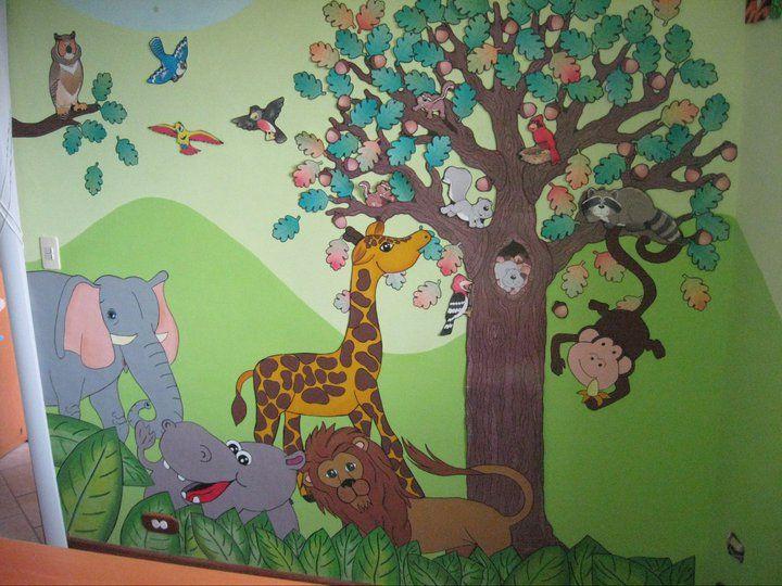 Mural de animales de la selva fondo pintado aplicaciones for Murales infantiles para preescolar